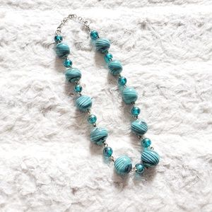 Turquoise blue glass beads necklace